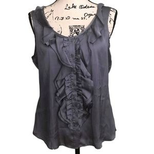 BLUE-GRAY RUFFLE BUTTON-UP BLOUSE/TANK BY SPENSE